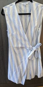 Striped linen faux wrap romper